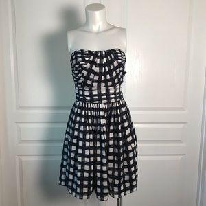 RACHEL ROY BLACK & WHITE CHECKERED STRAPLESS DRESS